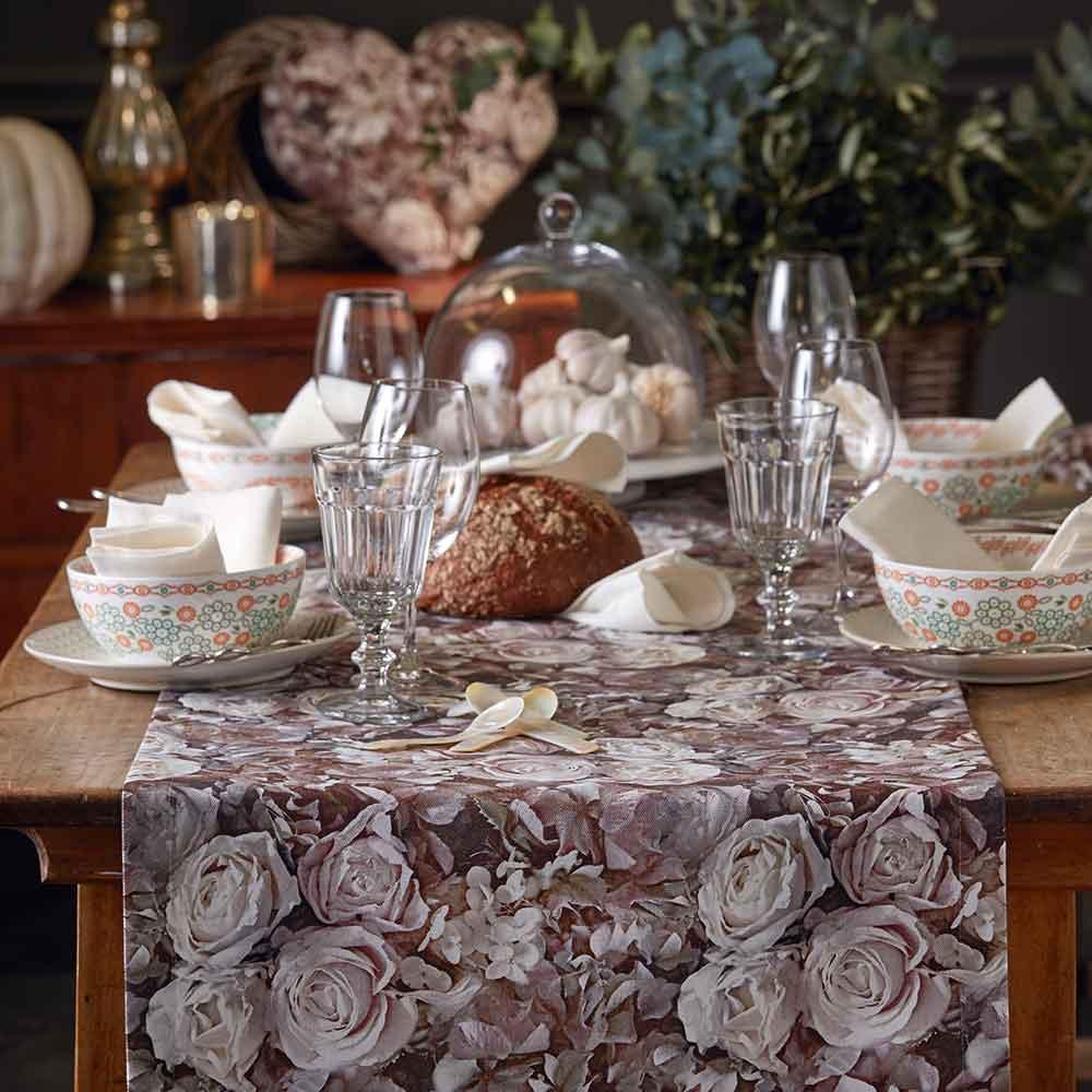 Castello Wohndesign: Tischläufer Mit Rosen-Motiv Aus Der Kollektion INDIAN